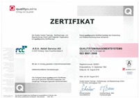 FCC Environment, .A.S.A. Abfall Service AG ISO 9001 Zertifikat