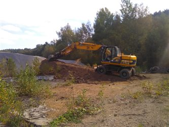 Remediation Milevsko- building an access road to sarcophagus